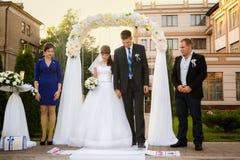 Pares, groomsman e dama de honra do casamento Imagens de Stock Royalty Free