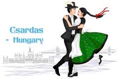 Pares húngaros que realizan la danza de Csardas de Hungría stock de ilustración