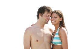Pares hermosos el las vacaciones de la playa aisladas Fotografía de archivo libre de regalías