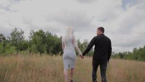 Pares hermosos en el amor que camina en el campo que lleva a cabo las manos almacen de metraje de vídeo