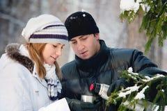Pares hermosos jovenes en parque del invierno. Imagen de archivo libre de regalías