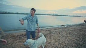 Pares hermosos jovenes que juegan con su perro en el río almacen de video
