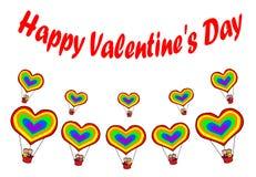 Pares homosexuales en tarjetas del día de San Valentín felices de los impulsos del corazón del arco iris ilustración del vector