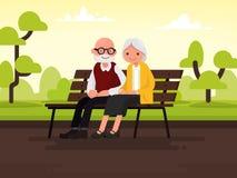 Pares idosos ao ar livre As avós estão sentando-se em um banco dentro ilustração royalty free