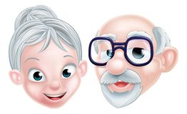 Pares idosos felizes dos desenhos animados Fotos de Stock Royalty Free
