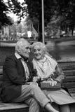 Pares idosos que falam em um banco de parque Rebecca 36 Imagem de Stock Royalty Free