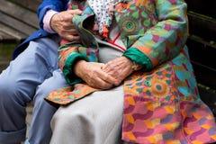 Pares idosos que sentam-se em um banco Entrega o close-up Imagem de Stock