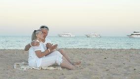 pares idosos que sentam-se em uma praia video estoque