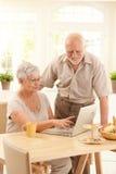 Pares idosos usando o computador Fotografia de Stock Royalty Free