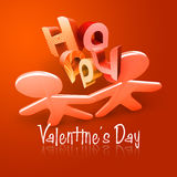 Pares ilustrados felices I del día de tarjeta del día de San Valentín ilustración del vector