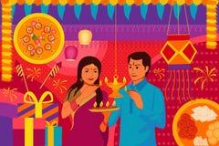 Pares indianos com a Índia feliz da arte do kitsch do fundo do festival de Diwali do diya ilustração do vetor