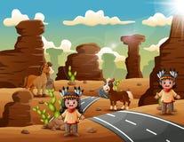 Pares indios de la historieta en el desierto stock de ilustración