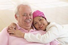 Pares inter-raciais superiores, mulher asiática, homem caucasiano Fotografia de Stock Royalty Free