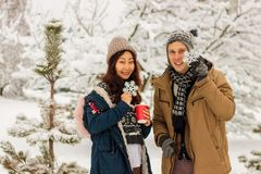 Pares internacionais bonitos que guardam flocos de neve e que sorriem no parque no inverno na neve imagens de stock