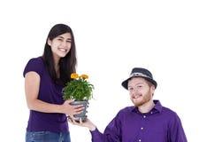 Pares interraciales jovenes con la planta en conserva de la maravilla, tiro del estudio Foto de archivo libre de regalías