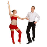 Pares jovenes de baile en blanco Imagen de archivo