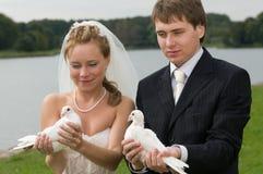 Pares jovenes de la boda con las palomas Foto de archivo libre de regalías