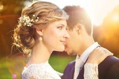 Pares jovenes de la boda en prado del verano imágenes de archivo libres de regalías
