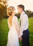 Pares jovenes de la boda en prado del verano fotos de archivo libres de regalías