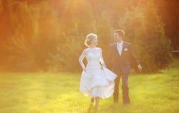 Pares jovenes de la boda en prado del verano fotos de archivo