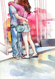 Amantes jovenes de los pares que besan y que abrazan la acuarela Foto de archivo