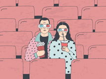 Pares jovenes de moda en cine Individuo y muchacha de moda en 3d-glasses con palomitas y la bebida Vector dibujado mano colorida Fotografía de archivo