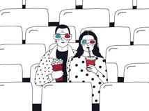 Pares jovenes de moda en cine Individuo y muchacha de moda en 3d-glasses con palomitas y la bebida Vector dibujado mano colorida Imagen de archivo libre de regalías