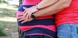 Pares jovenes embarazados en parque Fotografía de archivo