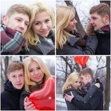 Pares jovenes en amor en el invierno Fotografía de archivo libre de regalías