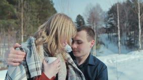 Pares jovenes en amor en un goce de las vacaciones del invierno almacen de metraje de vídeo