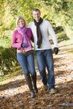 Pares jovenes en caminata del otoño Foto de archivo