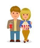 Pares jovenes en cine Caracteres, varón y hembra aislados con palomitas y una bebida Imagenes de archivo