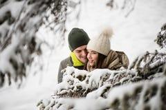 Pares jovenes en el amor - fondo nevoso Fotos de archivo libres de regalías