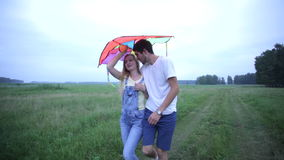 Pares jovenes en el amor que camina en campo y el abrazo del verano almacen de metraje de vídeo