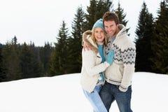 Pares jovenes en escena alpestre de la nieve imagen de archivo