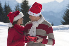 Pares jovenes en la nieve Imágenes de archivo libres de regalías