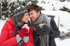 Pares jovenes en nieve con el coche Imagen de archivo
