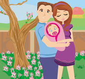 Pares jovenes felices con el bebé recién nacido Fotos de archivo libres de regalías