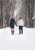 Pares jovenes felices en una caminata Imagen de archivo libre de regalías