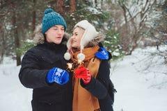 pares jovenes felices que caminan en bosque nevoso del invierno imagen de archivo libre de regalías
