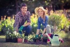 Pares jovenes felices que cultivan un huerto junto Imágenes de archivo libres de regalías