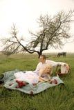 Pares jovenes felices que tienen una comida campestre romántica al aire libre en campo verde imágenes de archivo libres de regalías