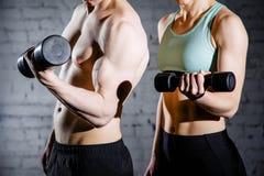 Pares jovenes fuertes que se resuelven con pesas de gimnasia Tirado en estudio en un fondo blanco fotografía de archivo libre de regalías