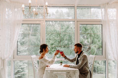 Pares jovenes hermosos con los vidrios de vino rojo en restaurante de lujo Fotografía de archivo libre de regalías