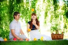 Pares jovenes hermosos que se divierten Comida campestre en campo Feliz Fotos de archivo libres de regalías