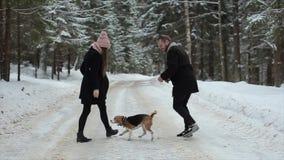 Pares jovenes lindos del inconformista que se divierten en parque del invierno con su perro en un día y una sonrisa brillantes El metrajes