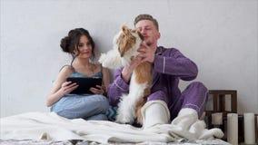 Pares jovenes lindos en el amor que se sienta en una cama con una tableta y que frota ligeramente un perro metrajes