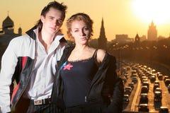 Pares jovenes Moscú Fotografía de archivo
