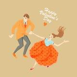 Pares jovenes que bailan el salto lindy Fotografía de archivo