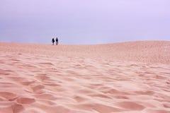 Pares jovenes que caminan en el desierto Dune du Pilat, Francia fotografía de archivo libre de regalías